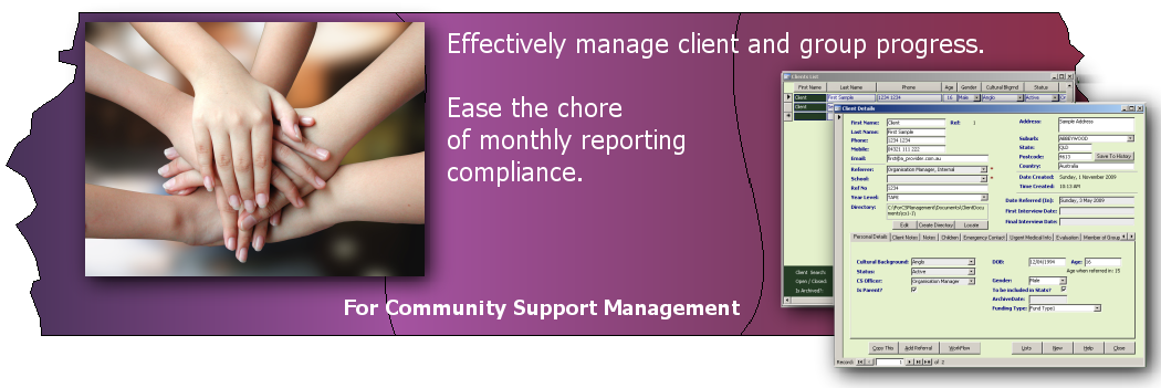 For Community Support Management - database software