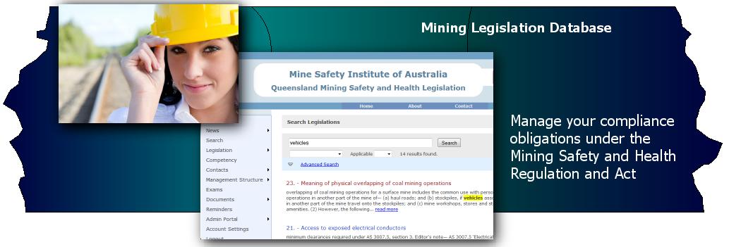 Mining Legislation Database - web based software